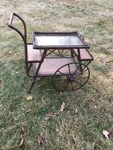 Antique Brown Wicker Tea Cart With Removable Serving Tray Beautiful Treasure