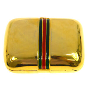 Authentic Gucci Business Card Holder Gold Gold tone Italy Vintage Ak23104