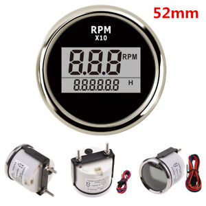 52mm Universal Car Motorcycle Led Digital Tachometer Rpm Meter Gauge Waterproof