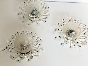 Set Of Three Glass Blossom Wall Lights Emil Stejnar Era Mid Century Modern 1950s