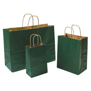 Mixed Pack 3 Sizes Green Paper Retail Gift Rope Handle Tote Shopping Bags