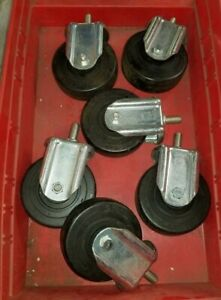 6 New 4 Fixed Threaded Caster Wheels 1 X 1 4 12 Lot Of 6