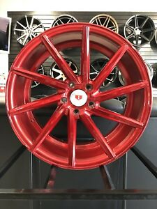 19 Staggered Candy Red Swirl Style Rims Wheels Fits G35 G37 350z 370z Mustang