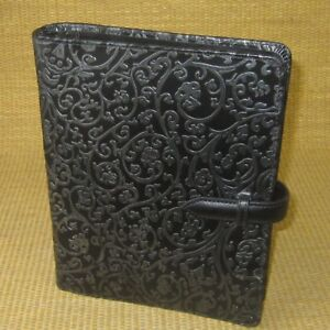 Franklin Covey Compact Black Leather Raised Vine Planner Binder Flex 1 Rings