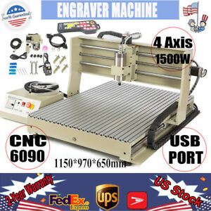 Usb 4 Axis 6090 Cnc Router Engraver Machine 1 5kw 3d Cutter Manual Controller