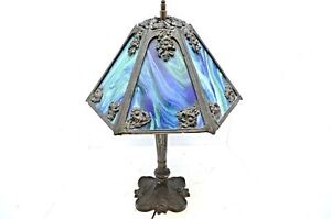Antique Art Nouveau Slag Glass Lamp Stained Glass Marbled Blue Deco 23 Lighting