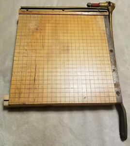 Vintage Ideal School Supply Paper Cutter Ingento 4 Wood Cast Iron