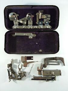 Vtg White Rotary Sewing Machine Attachment Kit Tin Case Greist Accessories Parts