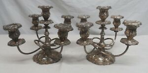 Pair Of Gorham Five Light Antique Silver Plated Candelabra