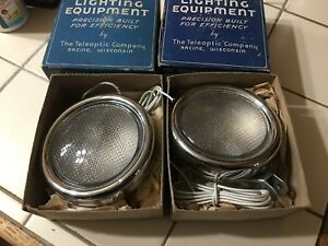 Nos Pair Teleoptic Back up Driving Lights Early Auto Truck Vintage Lamp Reverse