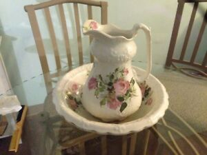 Old Rare Liverpool Pottery Antique Globe China Pink Roses Pitcher Wash Bowl Set