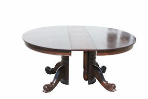 Beautiful Dolphin Footed Split Pedestal Mahogany Round Dining Table