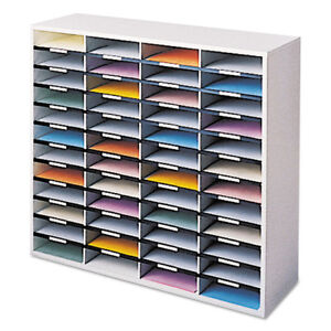 Fellowes Literature Organizer 48 Letter Sections Dove Gray 25081 New
