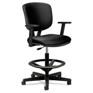 Hon 5705sb11t Volt Series Adjustable Armless Leather Task Stool Black New