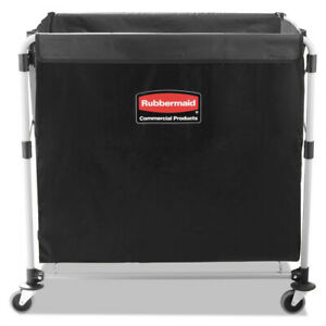 Rubbermaid Collapsible X cart Steel Eight Bushel Cart Black silver 1881750 New