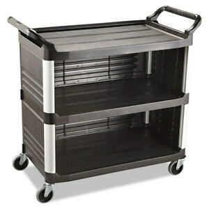 Rubbermaid Xtra Utility Cart 300 lb Cap Three shelf Black 4093bla New