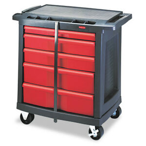 Rubbermaid Five drawer Mobile Workcenter Black Plastic Top 773488 New