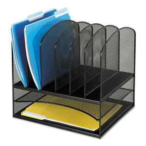 Safco Mesh Desk Organizer Eight Sections Steel 13 1 2x11 3 8x13 Black 3255bl New