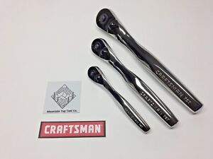 New 3 Piece Craftsman Full Polish Ratchet Set 75 Tooth 1 4 3 8 1 2
