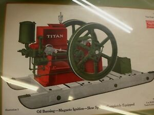 Ihc Titan Engine Original Color Framed Print Old Gas Engine Ihc