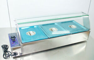 New 110v Kitchen Supply 3 Pan Bain Marie Food Warmer Steam Table 1 2pans