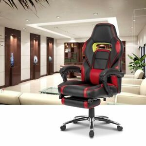 Ergonomic Faux Leather Racing Style Reclining Computer Gaming Chair W Footrest
