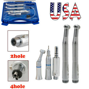 High Low Speed Dental Handpiece Kit 2 4 Hole Push Button Box Fit Nsk Air Turbine