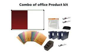 Combo Of 2 In 1 Notice White Board 3 X 1 5 Feet With Office Supplys Kit Set