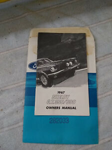 1967 Shelby Cobra Mustang Nos Owners Manual Original Gt350 Gt500 From Dealer