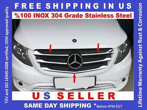 Mercedes Metris Chrome Front Grille Cover Trim Polished Stainless Steel 5 Pcs