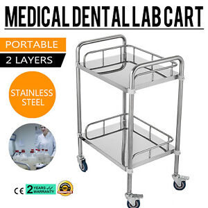 2 layer Stainless Steel Lab Medical Equipment Cart Dental Easy Assemble Moveable
