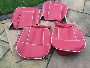 Mgb Seat Covers 1962 1968 H Section Pattern Red white Piping Vinyl Uk Made