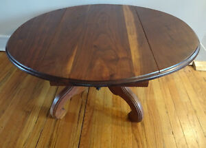 Antique Vintage Solid Wood Round Oval Pedestal Coffee Table Drop Leaf Drawer