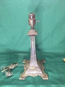 Lamp Base Cast Iron Art Nouveau Slag Glass