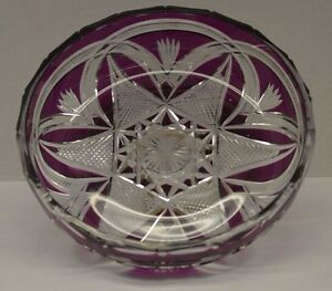 Antique Cut Crystal Purple To Clear Bowl
