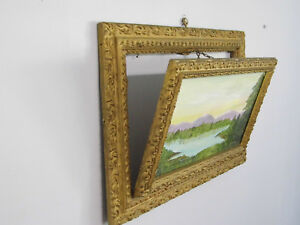 Antique Wood Gesso Ornate Drop Down Picture Frame 13 X 19 Fits 8 X 14