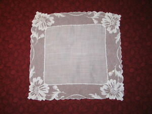 Stunning Vtg Antique French Needle Run Net Lace Handkerchief Hanky Bridal White