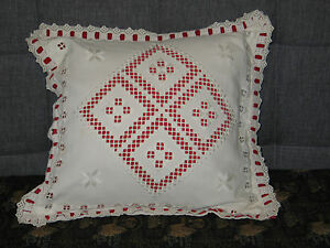 Exquisite Antique Vintage Hand Embroidered Hardanger Lace Pillow