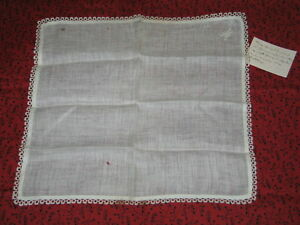Antique Hand Embroidered Monogram M Lace Handkerchief Hanky Provenance C1870s