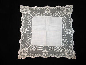 Vtg Antique Needle Run Embroidery Net Lace Handkerchief Hanky Bridal