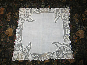Vtg Antique Needle Run Embroidery Net Lace Handkerchief Hanky Bridal Floral