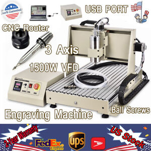 Usb 3 Axis 1 5kw Vfd Cnc 6040 Router Engraver Drill Artwork 3d Cutter Desktop Us