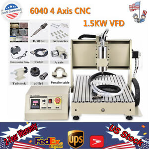 1 5kw 4 Axis Cnc 6040 Router Engraver Machine Drill Mill 3d Carving Cut Desktop