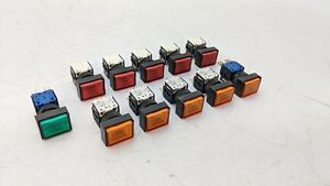 11x Swisstac Momentary Lightup Pushbutton Switch E7r 6a 250v Ac Orange Red Green
