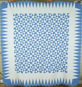 Large Vintage 30 S Blue White Hearts Gizzards Antique Quilt Nice Border