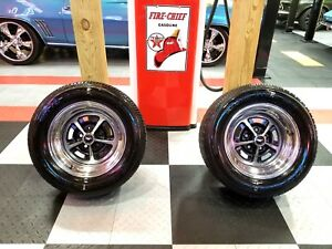 Mustang Mach 1 Fastback Boss 15 Magnum 500 Wheels And Tires Set Of Two Shelby