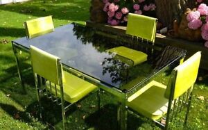 Mid Century Modernist Daystrom Smoked Glass Polished Steel Dining Set