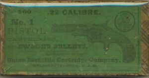 UMC .22 Ammo Box. 150 Years Old. RARE Excellent Condition. Perfect Top Label