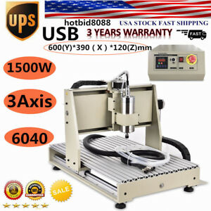 1500w Usb 6040 Router 3axis Metal Engraver Wood Milling Drill Machine Us Hot