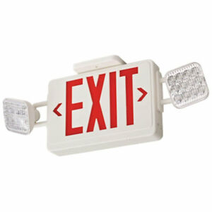 Lithonia Led Emergency Exit Sign Light Combo With Red Letters new Damaged Box